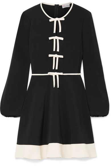 RED VALENTINO Bow-Embellished Stretch-Crepe Mini Dress in Black
