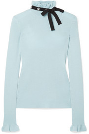 Grosgrain-trimmed wool sweater