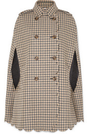 REDValentino Scalloped checked wool-blend cape