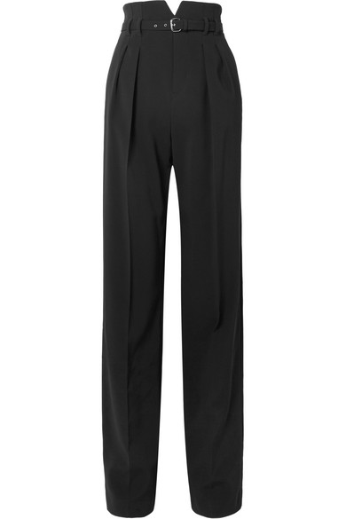 Belted Stretch Crepe Wide Leg Pants by Red Valentino