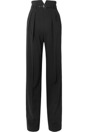 Belted stretch-crepe wide-leg pants