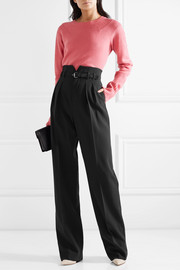 REDValentino Belted stretch-crepe wide-leg pants