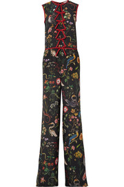 Bow-embellished floral-print silk-chiffon jumpsuit