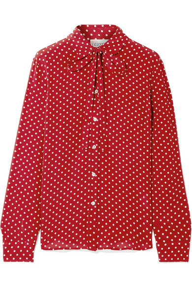 Pussy Bow Polka Dot Silk Crepe De Chine Blouse by Red Valentino