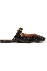 Lauren studded scalloped leather slippers