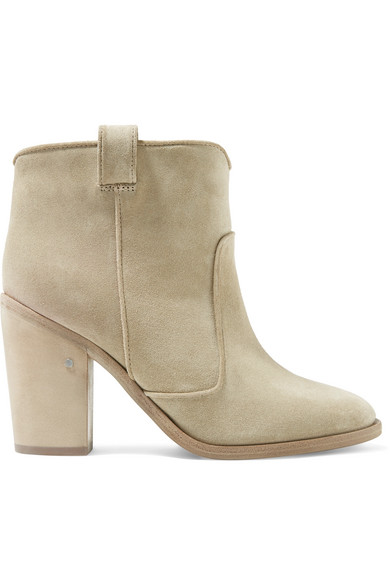 LAURENCE DACADE Pete Western Distressed Suede Ankle Boot, Beige