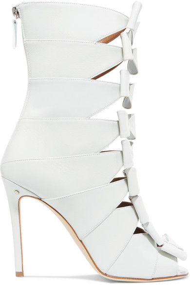 LAURENCE DACADE SILDA BOW-DETAILED CUTOUT CREASED-LEATHER ANKLE BOOTS