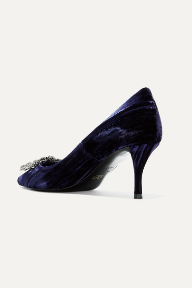 Roger Vivier Pumps Flower crystal-embellished velvet pumps