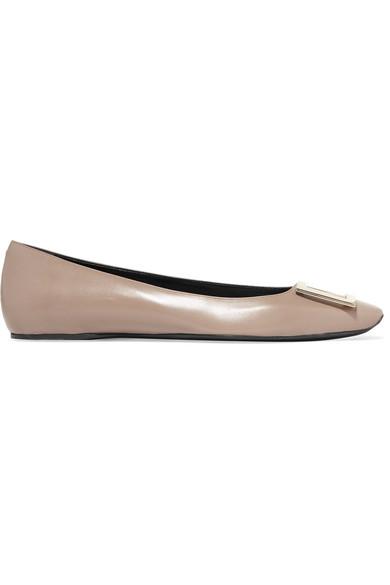 5c60fa8e4443f Roger Vivier | Trompette Bellerine embellished leather ballet flats ...