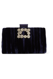 Crystal-embellished crushed-velvet clutch