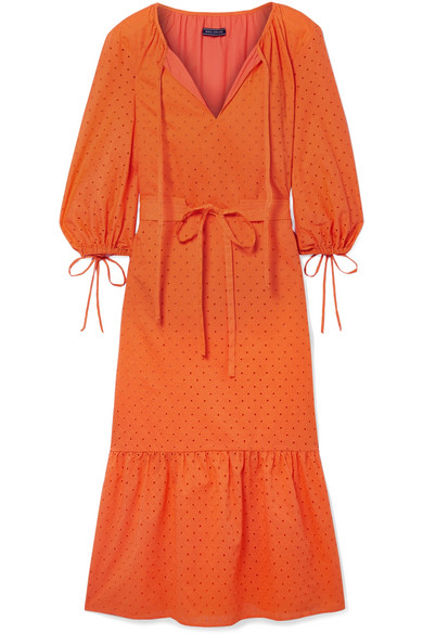 MDS STRIPES GARDEN BELTED BRODERIE ANGLAISE COTTON DRESS