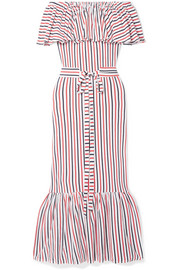 Rebecca off-the-shoulder ruffled striped cotton-jersey midi dress
