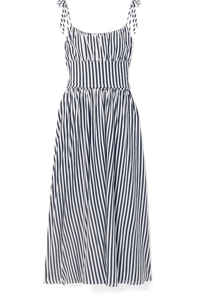 Charlotte Gathered Striped Cotton-jersey Midi Dress - Navy MDS Stripes rlIHO