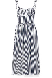Charlotte gathered striped cotton-jersey midi dress