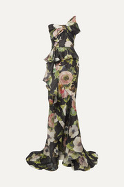 Bow-embellished floral-print silk-blend moire gown