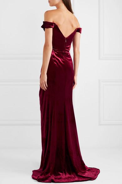 7c26c47c Marchesa   Off-the-shoulder appliquéd velvet gown   NET-A-PORTER.COM