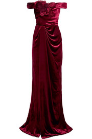 Off-the-shoulder appliquéd velvet gown