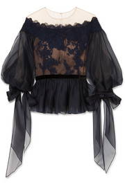 Organza, corded lace and tulle peplum top