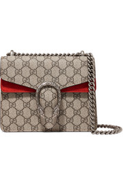 Dionysus mini printed coated-canvas and suede shoulder bag