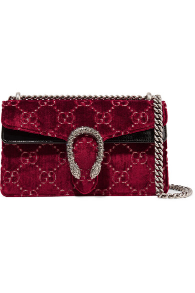 317c972dfcb2 Gucci | Dionysus patent leather-trimmed embossed velvet shoulder bag |  NET-A-PORTER.COM