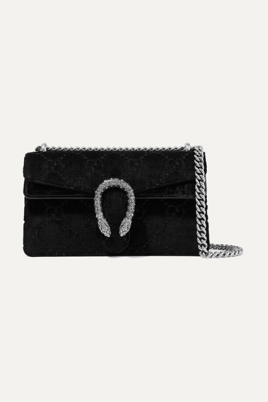 GUCCI DIONYSUS SMALL EMBOSSED VELVET AND TEXTURED-LEATHER SHOULDER BAG