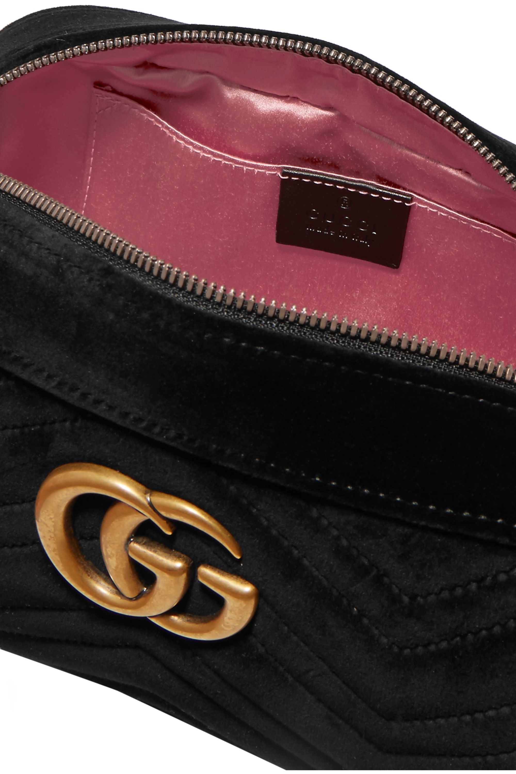 Gucci GG Marmont small leather-trimmed quilted velvet shoulder bag