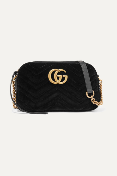 fd0244800459 GUCCI. Gg Marmont Small Leather-Trimmed Quilted Velvet Shoulder Bag ...