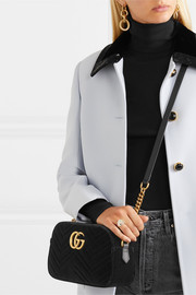 GG Marmont small leather-trimmed quilted velvet shoulder bag