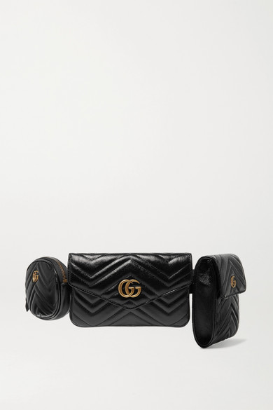 a7ef300dd108 Gucci Gg Marmont 2.0 Matelasse Triple Pouch Leather Belt Bag - Black