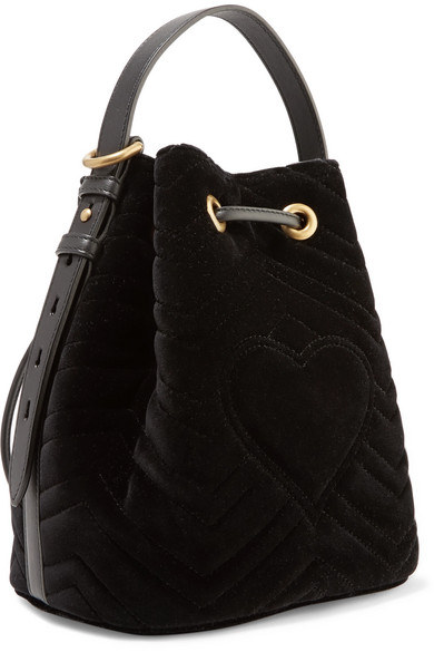 dcab7e7b839b75 Gucci Gg Marmont Leather-trimmed Quilted Velvet Bucket Bag ...