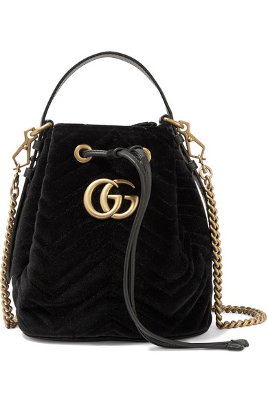 Gg Marmont Leather-Trimmed Quilted Velvet Bucket Bag in Black