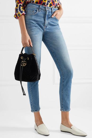 Gucci Shoulder GG Marmont leather-trimmed quilted velvet bucket bag