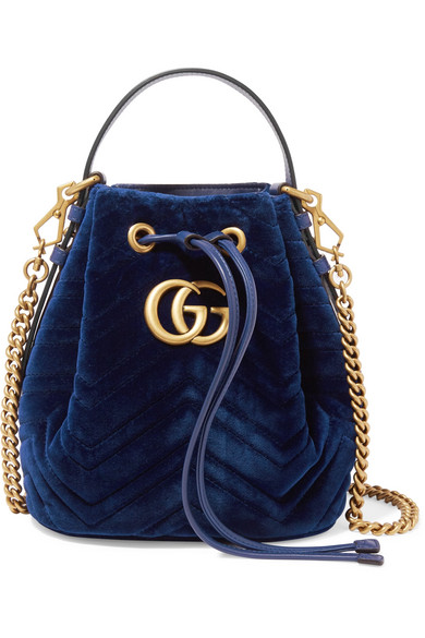 Gg Marmont Leather Trimmed Quilted Velvet Bucket Bag by Gucci