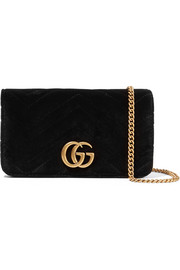 GG Marmont micro quilted velvet and textured-leather shoulder bag