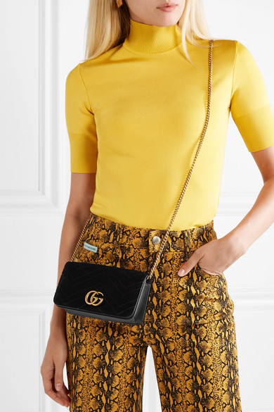 3a196827180 Gucci. GG Marmont micro quilted velvet and textured-leather shoulder bag