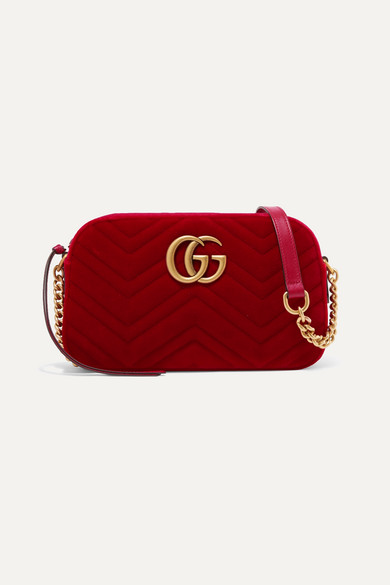 7f0f7052ee372 Gucci. GG Marmont small quilted velvet shoulder bag