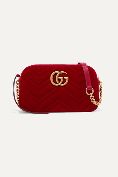 GG MARMONT SMALL QUILTED VELVET SHOULDER BAG