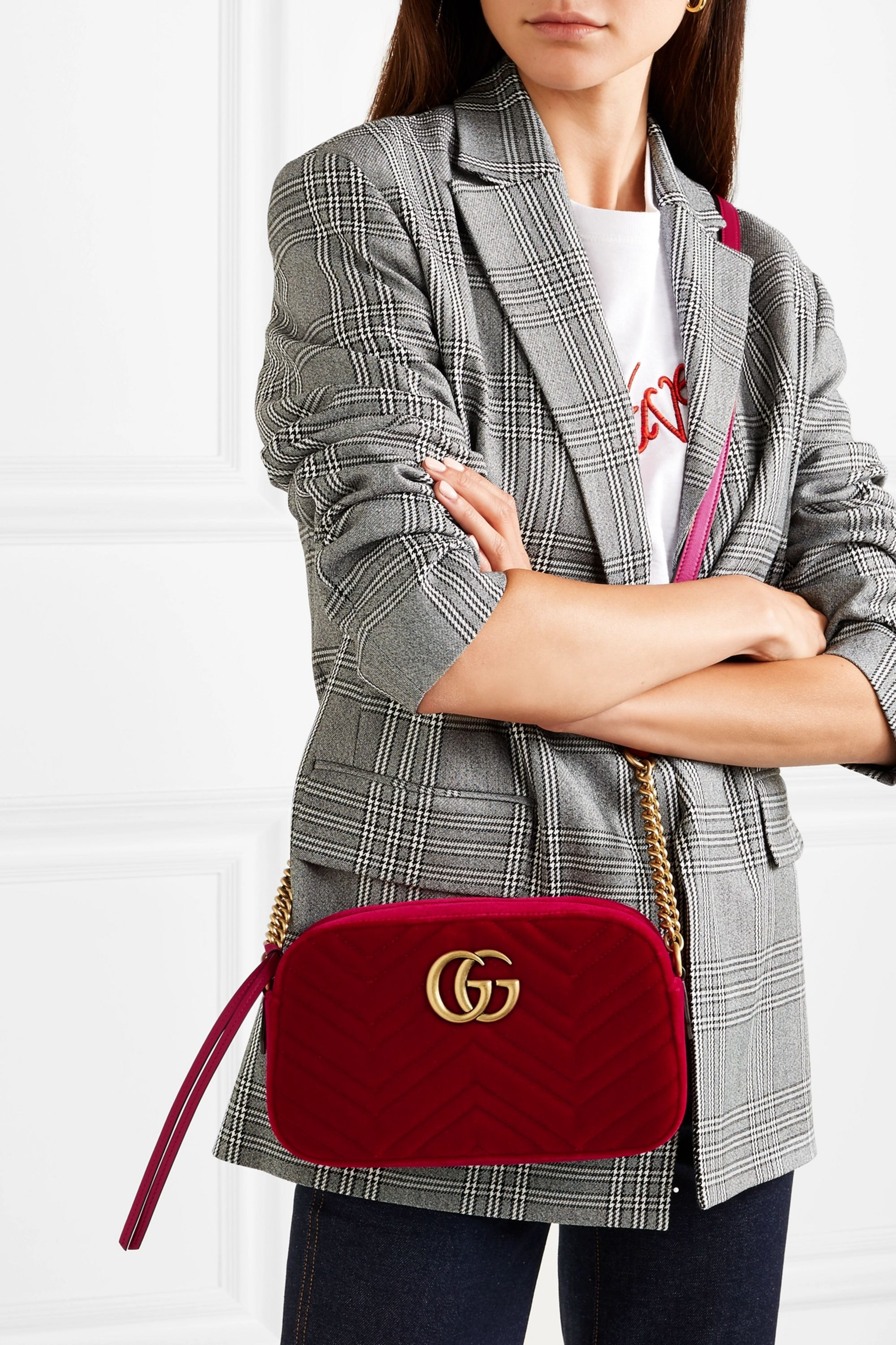 Red Gg Marmont Small Quilted Velvet Shoulder Bag Gucci Net A Porter