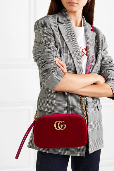 5add1fad1 Gucci | GG Marmont small quilted velvet shoulder bag | NET-A-PORTER.COM