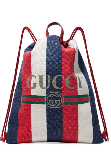 00b5a49a25aa Gucci Leather-Trimmed Logo-Print Striped Canvas Drawstring Backpack - Red -  One Siz