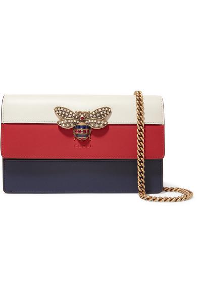 Queen Margaret embellished color-block leather shoulder bag