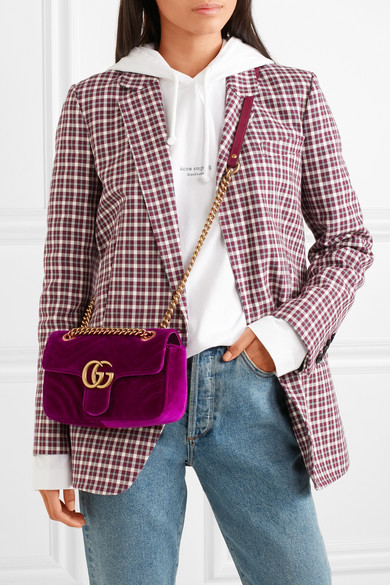 2fc0aa6bc4a2f3 Gucci | GG Marmont mini quilted velvet shoulder bag | NET-A-PORTER.COM