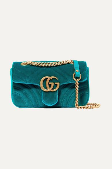 GG Marmont mini quilted velvet shoulder bag
