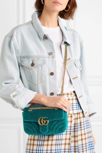 2040c208c3d GG Marmont mini quilted velvet shoulder bag