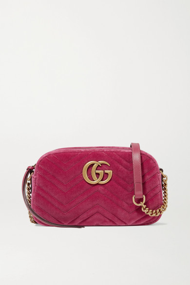 49f7050a8f6201 Gucci. GG Marmont Camera mini leather-trimmed quilted velvet shoulder bag