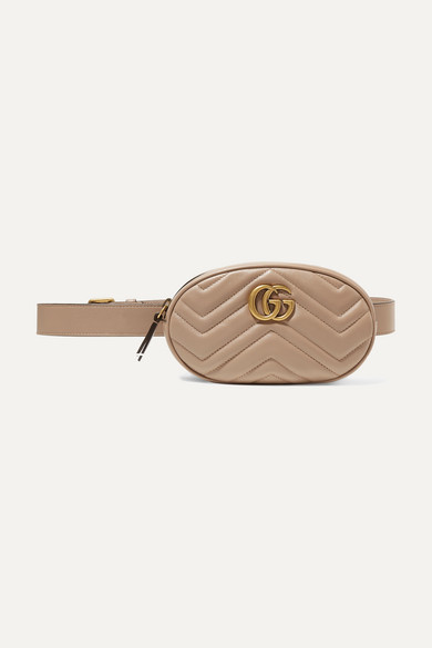Gucci Gg Marmont Quilted Leather Belt Bag In Nude