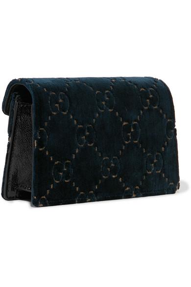4b159857ffa5 Gucci. Dionysus super mini patent leather-trimmed embossed velvet shoulder  bag
