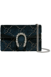 Gucci Dionysus super mini patent leather-trimmed embossed velvet shoulder bag