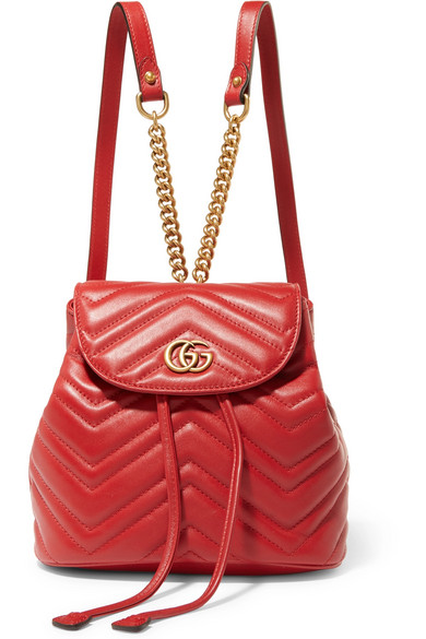 Gg Marmont 2.0 Matelassé Leather Mini Backpack in Red