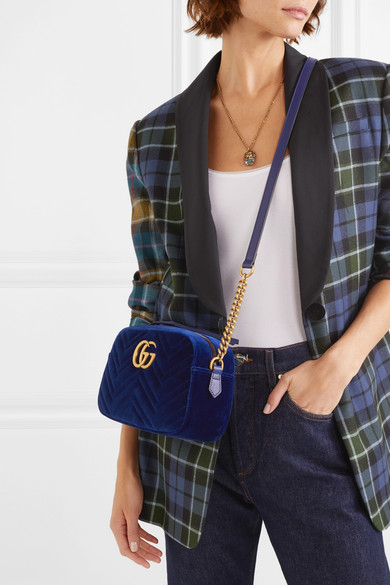 72295b3cce7e86 Gucci | GG Marmont small quilted velvet shoulder bag | NET-A-PORTER.COM